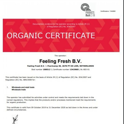 Feeling Fresh Organic certified!!